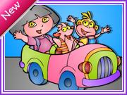 Colorier dora et ses amis en voiture